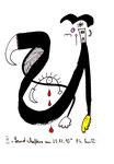 """""""Landschaftern am 25.12.1995 II"""" 25.12.1995, Werkverzeichnis 881, Filzstift und Textilfarbe auf Papier, Größe b 12,0 cm * h 16,0 cm."""