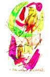 """""""Malen mit Lassi 1"""" / Werkverzeichnis 1.281 / datiert 10.02.97 / Filzstift und Aquarell auf Papier / Maße b 12,0 cm * h 18,0 cm"""