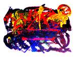 """""""BRD - DDR"""" Gestringen, 01.1990, Werkverzeichnis 123, Binderfarbe, Ölfarbe und Lack auf Papier, b 70,0 cm x h 50,0 cm"""
