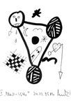 """II """"Black + Withe"""", Werkverzeichnis 506, vom 24.03.1995, Textilfarbe schwarz auf Papier, Größe b 11,0 cm * h 15,0 cm."""
