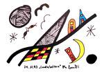"""""""Landschaftern"""" Datiert 24.12.1993 Werkverzeichnis 388 Textilfarbe auf Aquarellpapier b 15,0 cm * h 10,5 cm"""