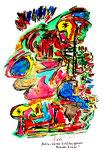 """""""Astro-Wärme-Schädel gebiert blauen Gnom""""  / Werkverzeichnis 1.312 a / datiert 03.04.97 / verschiedene Tuschfarben, Zeichnungen und Berechnungen auf Papier, Maße b 30,0 cm * h 40,0 cm."""