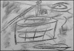 """""""o. T. (14)"""" Blieskastel, den 11.03.1987, Werkverzeichnis 75, Kohle auf Papier, b 42,0 cm x h 30,0 cm"""
