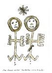 """Paar, schwanger, mit Stern"" / WVZ 3.345 / datiert 12.07.01 / Bleistift, Asche, Zigarre, Filzstift auf Papier, Maße b 21 cm * h 29,7 cm"