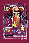 """Serie von 6 Arbeiten: """"Enge 2"""" / WVZ 1.900 / datiert Boddin, 13.02.99 / diverse Farben auf farbigem Papier / Maße jeweils b 29,7 cm * h 42,0 cm"""