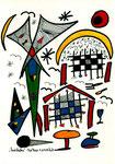 """""""Landschaftern"""" - Bad Fiestel - 07.11.1993, Werkverzeichnis 368, Textilfarbe auf Papier, b 30,0 cm * h 40,0 cm, verkauft an Jürgen, Inhaber Bad Fiestel"""