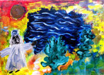 """""""Beduinentanz"""" Gestringen, 20.10.1987, Werkverzeichnis 85, Ölfarben und Acryl auf Leinwand, b 40,0 cm x h 30,0 cm"""