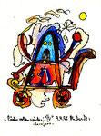 """""""Räder rollen wieder"""" IV - Sarajevo - Werkverzeichnis 526. Datiert Bad Bevensen, 09.04.95. Filzstift, Goldlack, Textilfarbe und Aquarell auf Papier. Größe b 12,0 cm * h 16,0 cm."""