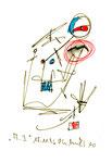 """""""A.I. 10"""", WVZ 1.131 / datiert 11.12.1996 / Filzstiftzeichnung mit Textilfarbe und Kohle auf Bütten / Größe b 10,0 cm * 16,0 cm"""