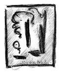 """1 """"o. T."""" WVZ Nachträge / datiert 23.12.1996 / Kohle und Textilfarben auf Papier / b 11,0 cm * 18,0 cm"""