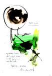 """""""Gebier grün"""" / Werkverzeichnis 3.032 / datiert 11.08.2000 / Aquarell, Tusche und Text auf Papier / Maße b 21,0 cm * h 29,7 cm"""