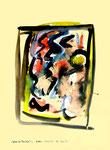 """""""Grenzen der Freiheit!"""" 6 Werkverzeichnis 1.915 / datiert Boddin, 13.02.99 / diverse Farben auf hellgelbem Papier / Maße b 29,7 cm * h 42,0 cm"""