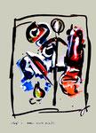 """Serie von 6 Arbeiten: """"Enge 1"""" / WVZ 1.899 / datiert Boddin, 13.02.99 / diverse Farben auf farbigem Papier / Maße jeweils b 29,7 cm * h 42,0 cm"""