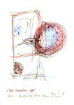 """""""Geh, Wanderherz, geh!"""" 3 / Werkverzeichnis 2.021 / datiert 10.04.99 / Filzstift rot, blau und schwarz auf Papier / Maße b 21,0 cm * h 29,7 cm"""