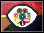 """""""Die Unwirklichkeit"""" Datiert 1988 Werkverzeichnis 96 Ölfarbe und Materialien auf Leinwand b 24,0 cm x h 18,0 cm"""