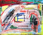 """""""o. T."""" Circa 1995 / Werkverzeichnis 13 Tuschen, Kreiden, Farben auf Leinwand auf Pappe / b 40 cm * h 50 cm"""