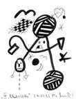 """IV """"Black + Withe"""", Werkverzeichnis 508, vom 24.03.1995, Textilfarbe schwarz auf Papier, Größe b 11,0 cm * h 15,0 cm."""