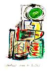"""""""Wartehaus"""" / WVZ 3.017 / Göhrde, 11.08.00 / Aquarell, Kreide, Tusche, Bleistift auf Papier / Maße 42,0 cm * h 59,4 cm"""