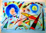 """""""Landschaftern XIII"""" - An das Universum - Titisee, 12.04.1993 Werkverzeichnis 353 Textilfarbe und Aquarell auf Papier b 65,5 cm * h 47,6 cm"""