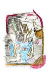 """""""Landschaft am Scharmützelsee"""" Werkverzeichnis 2.993 / datiert 7/00 Bleistift, Filzstift, Buntstift und Kreide auf Papier Maße b 21,0 cm * h 29,7 cm"""