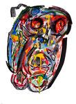 """""""Menschen"""" IV / WVZ 918 / datiert 02.01.96 / Filzstift, Kreiden, Plusterfarben und Aquarell auf Papier / b 30,0 cm * h 40,0 cm"""