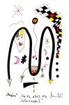 """""""Lilamonde I"""", WVZ 510, vom 26.03.1995, Textilfarbe und Filzstift auf gerissenem Bütten. Größe jeweils b 10,0 cm * h 16,0 cm"""