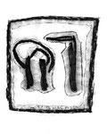 """5 """"o. T."""" WVZ Nachträge / datiert 23.12.1996 / Kohle und Textilfarben auf Papier / b 11,0 cm * 18,0 cm"""