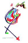 """""""Wandern"""" WVZ 952 / datiert 02.03.1996 / Filzstift und Kohle auf Papier / b 30,0 cm * 40,0 cm"""