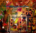 """""""ABC123 Alles Paletti"""", Gestringen, 08/92, Werkverzeichnis 298, Kreide, diverse Farben und Lacke auf Pappe b 69,0 cm * h 62,0 cm"""
