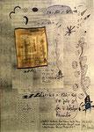 """""""Gelblich werdende Bio-Tonne unter dem abnehmenden schwarzen Mond und weggehendem blauen Angesicht"""" - Espelkamp, 16.12.1993, WVZ 382, Techn. s. Anf., b 29,7 cm * 42,0 cm"""