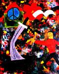 """""""Schwerter zu Pflugschalen"""" Gestringen, im Jahre 1988, Werkverzeichnis 99, Acryl- und Ölfarbe auf Leinwand, b 40,0 cm x h 50,0 cm"""