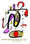 """""""Landschaft mit rotem Vogel"""" 2 / WVZ 2.011 / datiert Bad Sobernheim, 29.03.99 / Farbzeichnung mit Textilfarbe auf Papier / Maße b 10,0 cm * h 15,0 cm"""