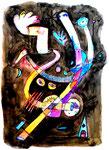 """Malerei """"o. T."""", Werkverzeichnis 894. Datiert 1996. Aquarell und Textilfarbe auf Papier. Größe b 50,2 cm * h 70,5 cm"""