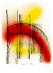 """Serie von 2 Arbeiten - 1 v. 2 - """"Schwarz-rot-goldenes Gefusel"""" 05 / 94, Werkverzeichnis 412, Kohle und Lack auf Papier, b 21,0 cm * h 29,7 m"""