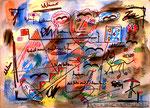"""""""Die Masse - die Mehrheit"""" Titisee, den 01.04.1993, Werkverzeichnis 349, Diverse Farben, Filzstift, Bleistift und Text auf Papier, b 46,0 cm * h 34,0 cm"""