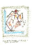 """""""Engel vor dem Zerplatzen"""" 5 / Werkverzeichnis 2.023 / datiert 10.04.99 / Filzstift verschiedene Farben auf Papier / Maße b 21,0 cm * h 29,7 cm"""