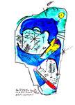 """""""Dreut´s Mond, dräuts dunkler?"""" / Werkverzeichnis 1.312 / datiert 03.04.97 / verschiedene Tuschfarben, Zeichnungen und Berechnungen auf Papier, Maße b 30,0 cm * h 40,0 cm."""