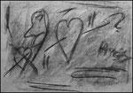 """""""o. T. (3)"""" Blieskastel, den 11.03.1987, Werkverzeichnis 64, Kohle und Kohleschrift auf Papier, b 42,0 cm x h 30,0 cm"""
