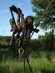 schwarzer reiter; wurzelholz, metall, feuer