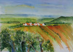 Landschaft in Franken 1 -  Aquarell 38x53 cm