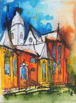 Stephanskirche 1 -  Mixed Media 30x40 cm