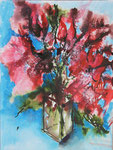 Rote Blumen im Glas - Mixed Media 30x40 cm