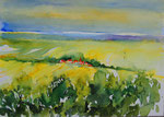 Landschaft in Franken 2 -  Aquarell 38x53 cm