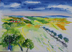 Landschaft in Franken 3 -  Aquarell 38x53 cm