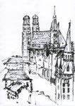 München Frauenkirche - Skizze auf Papier 20x30 cm