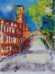Turm und Brücke - Mixed Media 30x40 cm