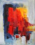 Abstrakt Indigo-Rot-Gelb - 60x80 cm