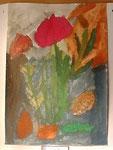「チューリップ」水彩絵の具の特色(独特のムラ)が生かされた作品です。ハーフトーン(中間色)が綺麗です。