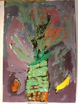 「パイナップル」真ん中に大胆にパイナップルを描いており、迫力があります。色数が多く、油絵のような重厚さがあります。