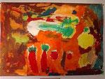 「静物」クレパスで描かれた原色のモティーフ。 それに対し、背景が複雑な色で構成されています。 その対比が美しいです。
